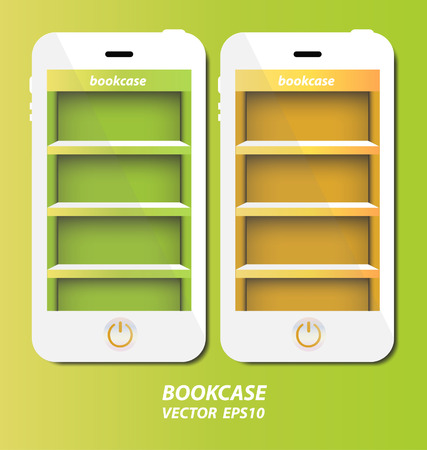 Smartphone with bookcase background on screen for ebook Vector