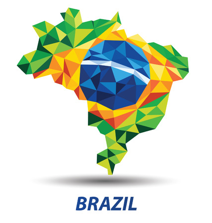 geometric abstract in Brazil flag concept Vector