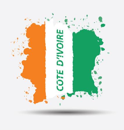 cote d ivoire: Watercolor in cote d ivoire flag concept