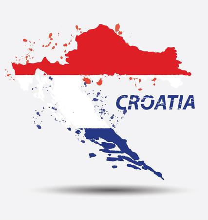 croatia flag: Watercolor in Croatia flag concept