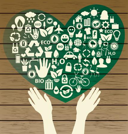 Go green concept  Save world vector Illustration  Ilustração