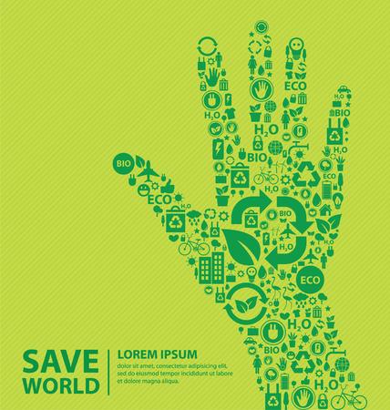 Перейти зеленый концепции Сохранить мир векторные иллюстрации Иллюстрация