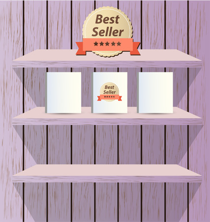 book shelf: bookcase background for ebook Illustration