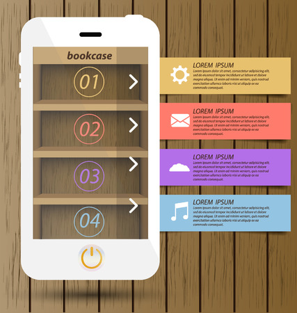 Smartphone with wooden bookcase background on screen for ebook  Modern infographic design template  Vector