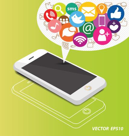 Social media on smartphone Ilustração