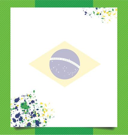 Template design, Watercolor in Brazil flag concept Vector