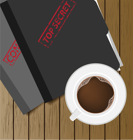 Top secret folder and coffee cup Vector