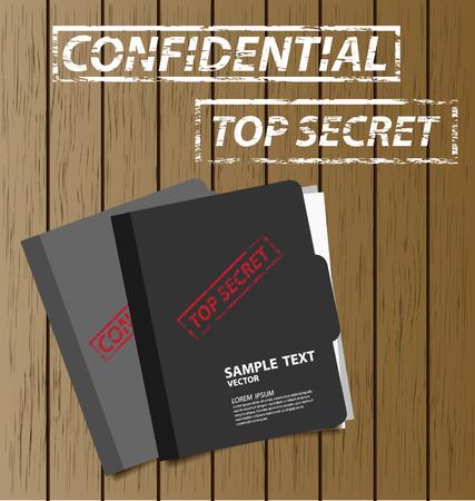 Top secret folder with documents illustration Vector