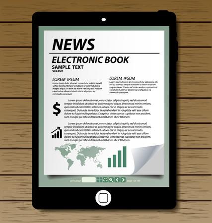 E-book display on tablet vector Vector