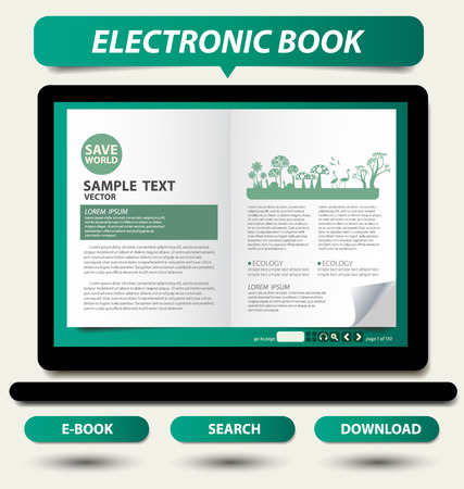 E-book display on laptop vector Vector