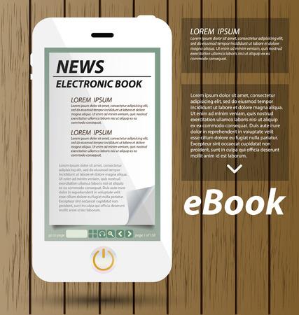 E-book display on smartphone vector Vector