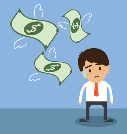 Money is flying away from sadness businessman Vector