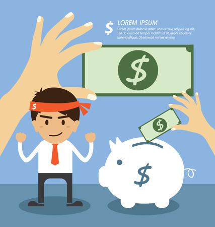 Businessman saving money in a piggy bank Vector