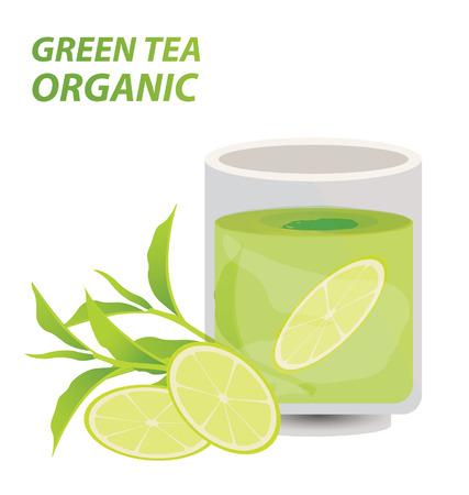 tea plantation: green tea Illustration