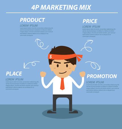 businessman 4P marketing mix Vector