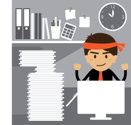 Young businessman working hard at the office Vector