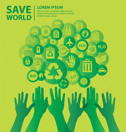 Go green concept  Save world vector Illustration  Vector