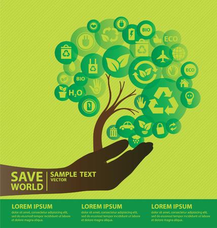 世界のベクトル図保存行くグリーン コンセプト