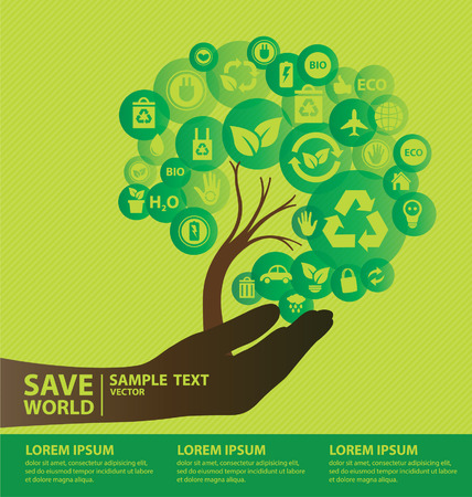 Go green concept  Save world vector Illustration  Ilustracja