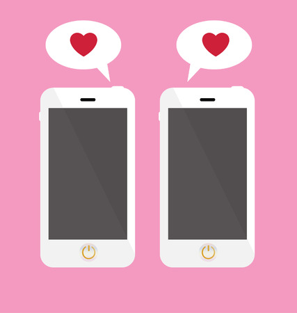 smartphone with love message  Ilustrace