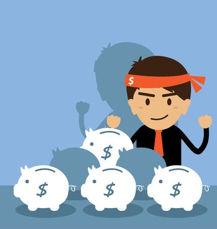 Бизнесмен экономить деньги в копилку Иллюстрация