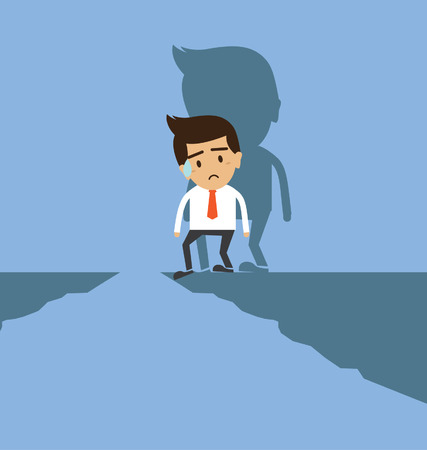 Businessman standing on the cliff Vector