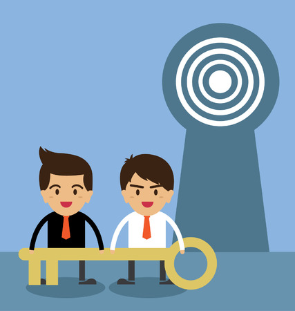 escape key: Young businessman with big key. standing in front of keyhole. Illustration