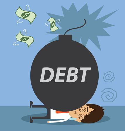 Businessman burden with Debt