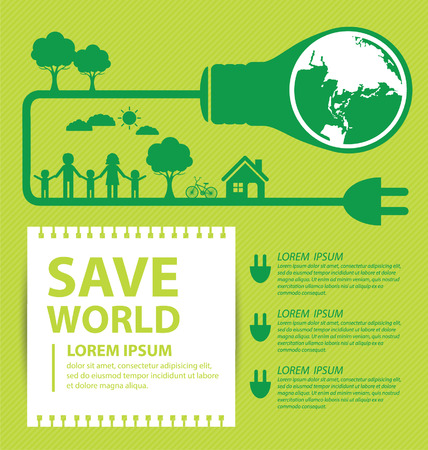 Go green concept. Save world Illustration. Vector