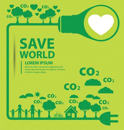 Go green concept. Save world  Illustration.