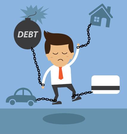 Business man burden with Debt  イラスト・ベクター素材