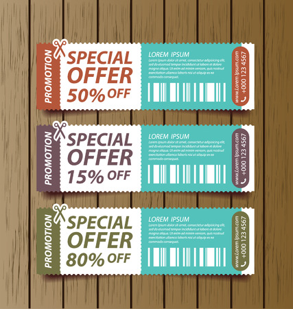 Coupon sale, offers and promotions vector template.