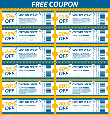 Coupon sale, offers and promotions vector template. Vector