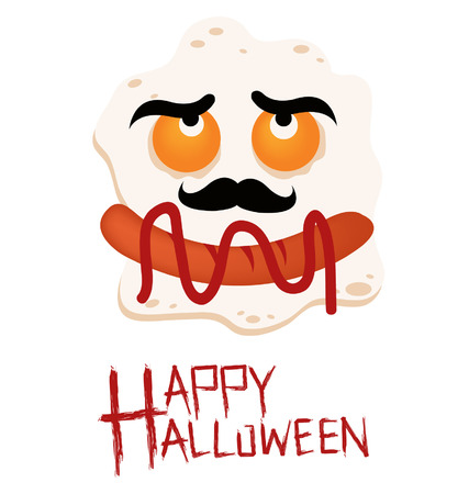 Breakfast. Fried egg. Halloween vector illustration. Vector