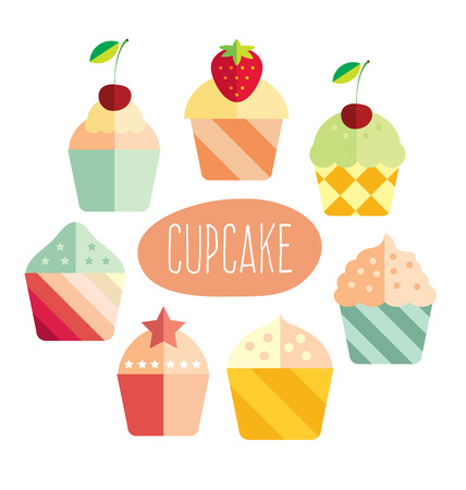 Cupcakes vector card in flat style Vector