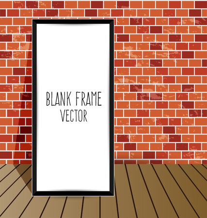 frame on a brick wall and the wooden floor Vector