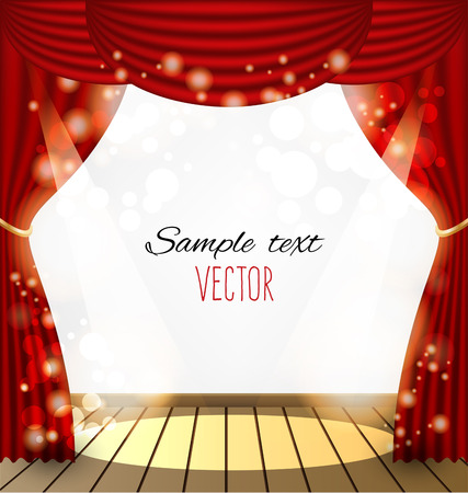 performance art: red curtains vector background
