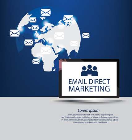 direct marketing: email direct marketing concept. vector Illustration.