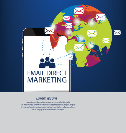 direct: email direct marketing concept. vector Illustration.