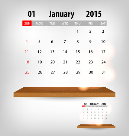 vector eps10: Calendar for 2015. Vector EPS10. Illustration
