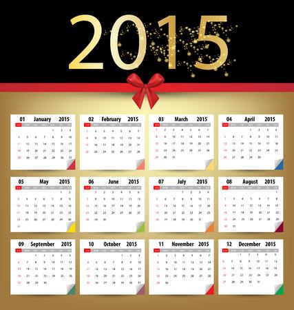 red ribbon week: Calendar for 2015. Vector EPS10. Illustration