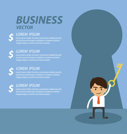 successful businessman: Businessman standing in front of keyhole Illustration