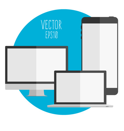 illustration set of modern technology devices - computer monitor, laptop and mobile phone with blank screen. Vektorové ilustrace