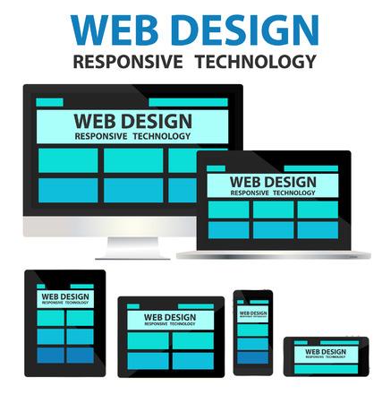 responsive web design concept vector Vector