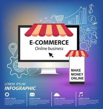 e commerce concept vector Illustration Vector