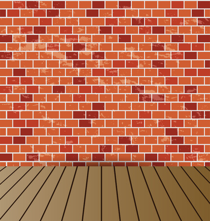 wooden floor: brick wall and the wooden floor