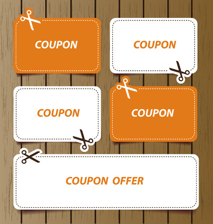 price cut: Coupon sale, offers and promotions vector template.