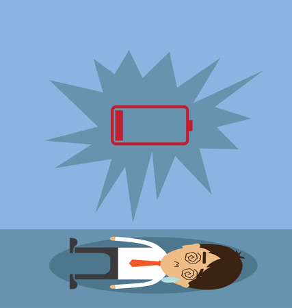 low battery: Businessman with low battery Illustration