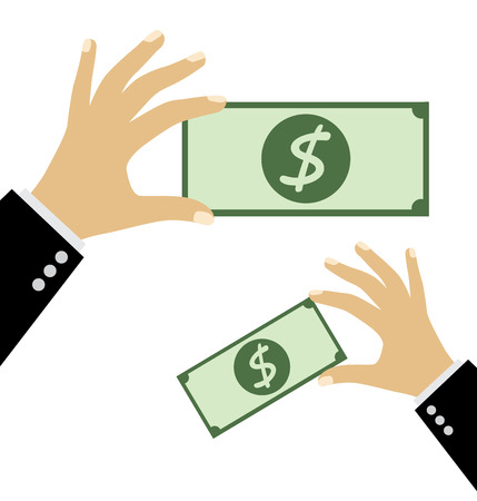 passive earnings: Hand holding money. Financial and business concept. vector illustration.