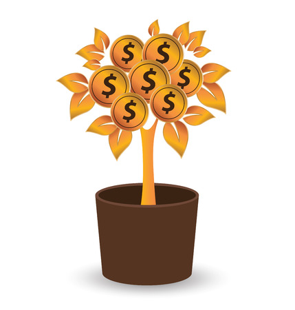 passive earnings: Money tree, Financial and business concept. vector illustration.